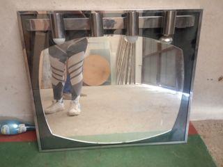Espejo baño cristal y metal cuatro focos