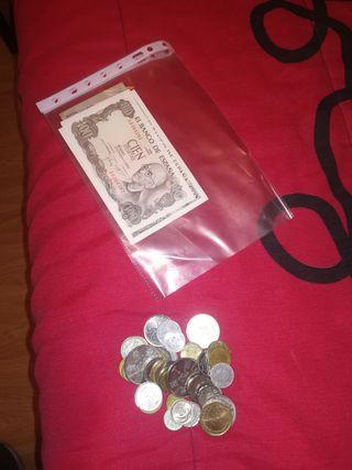 monedas y billetes.