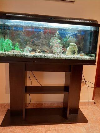 acuario de 150 litros con filtros y mueble