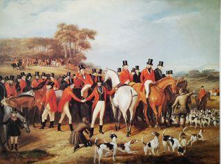 Cuadro grabado lámina escena de caza inglesa