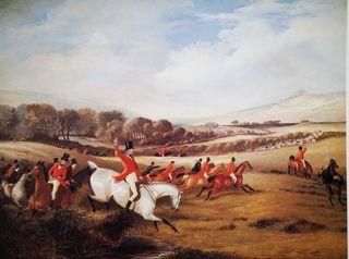Lámina antigua de una escena de caza Inglaterra