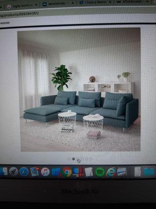 sofa ikea 4 plazas color turqueza.