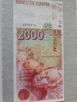 Difícil billete 2000 pesetas 1992 Sin serie