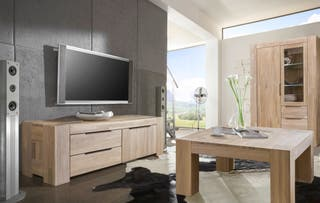 Aparador de TV Mueble Madera Maciza Roble Nordico