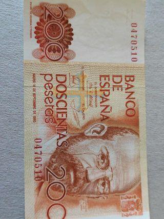 Difícil billete 200 pesetas 1980 Sin serie SC