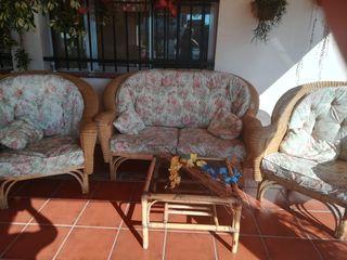 conjunto de jardín sofás de mimbre