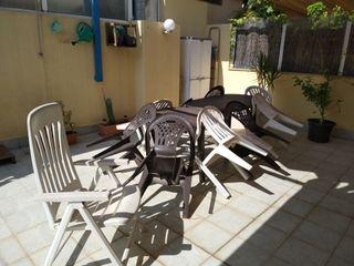 Pack 9 sillas + silla/tumbona plástico y 2 mesas