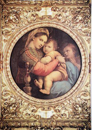 Lámina antigua de Virgen de la silla de Raffaello
