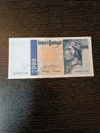 Billete de Portugal de 2000 escudos.