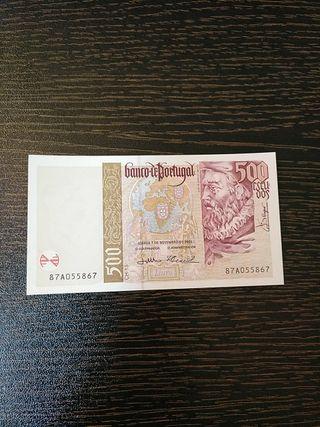 Billete de Portugal de 500 escudos.