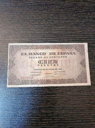 Billete antiguo de España. Guerra Civil. 1938.