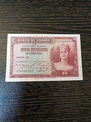 Billete antiguo de la República española. 1935.