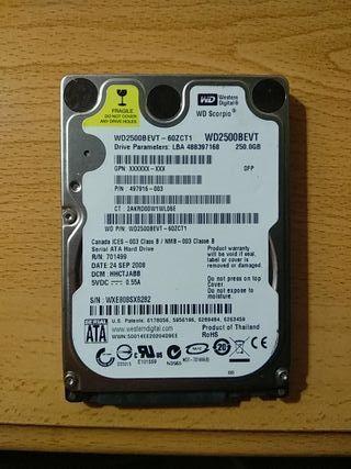 disco duro 2'5 250Gb SATA marca WD