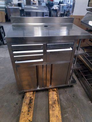 mueble cafetero acero 1 m bar