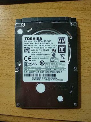 disco duro 500Gb Toshiba SATA 7200rpm 2'5