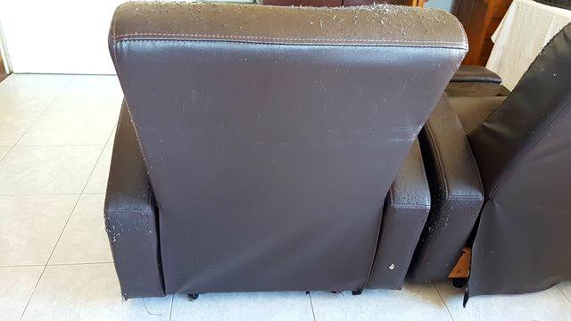 Sillón polipiel marron reclinable