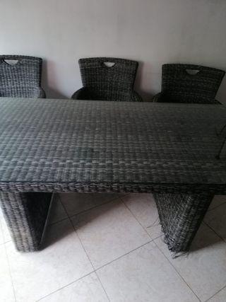 Rattan Mesa y 6 sillas