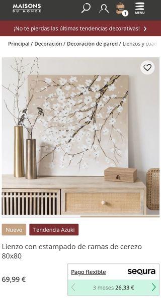 Cuadro lienzo flor de cerezo Maison du Monde