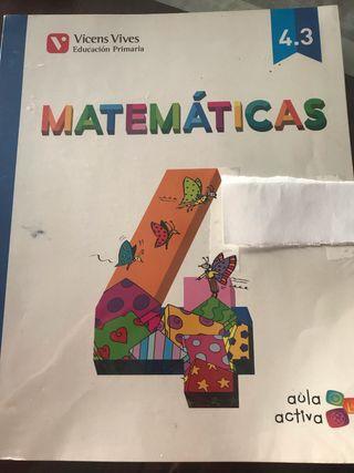 Matemáticas cuarto de primaria, como nuevo VICENS