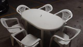 Mesa plástico terraza con 6 sillas