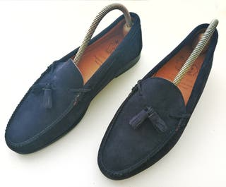 Zapato hombre mocasín azul SIN USAR Bow tie. T 42