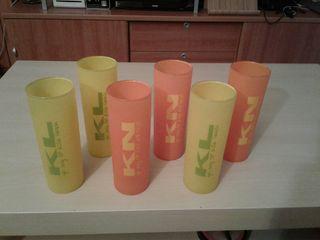 Juego de 6 vasos de tubo de naranja o limon