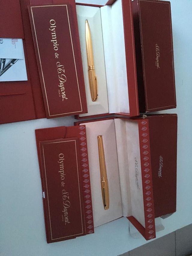 Pluma y bolígrafo DuPont oro