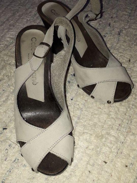 Sandalias de ante gris natural, n37