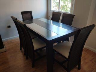 mesa extensible salon comedor con 6 sillas