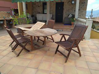 Conjunto mesa sillas jardin de madera acacia