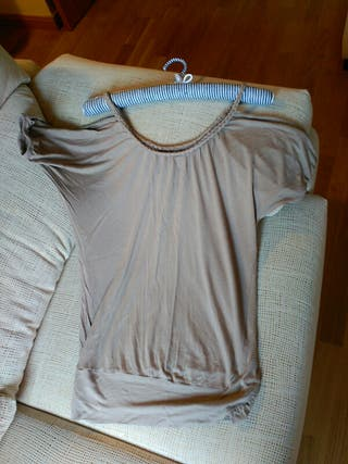 Camiseta tirantes color vison, diseño original