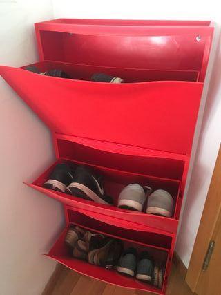 Zapatero Ikea segunda mano rojo (3 módulos)