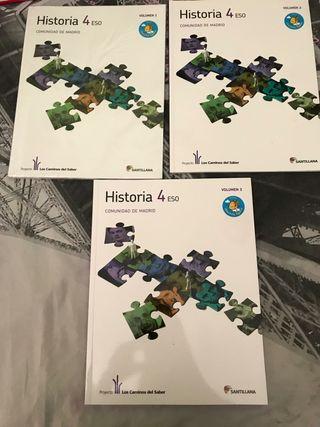 Libros de historia 4° de Eso 3 volúmenes