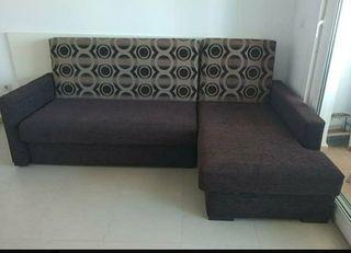 Sofá marrón cama chaise longue nuevo somier. Medid