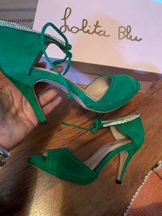 Zapato fiesta verde Lolita blu