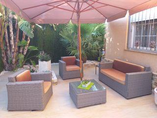 Conjunto jardin con parasol