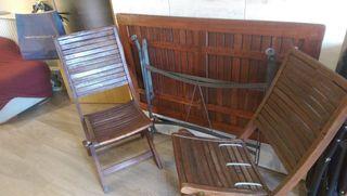 Conjunto de mesa/4 sillas para jardín o terraza