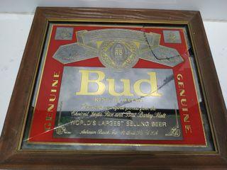 Antiguo cuadro espejo Bud, Roto