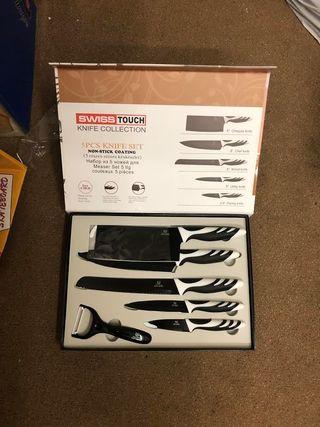 Cuchillo 5 piezas + pelapatata (blanco y negro)