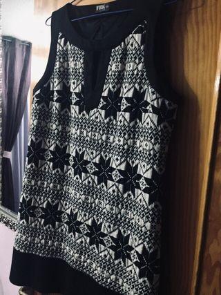Vestido negro y blanco talla 50