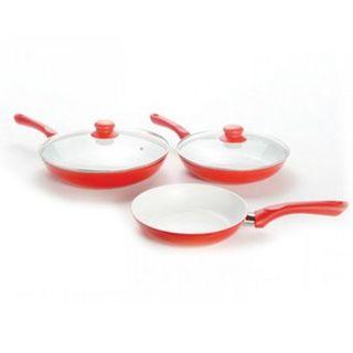 Sarten de ceramica 5 piezas color rojo