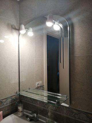 Espejo baño con luces y repisa