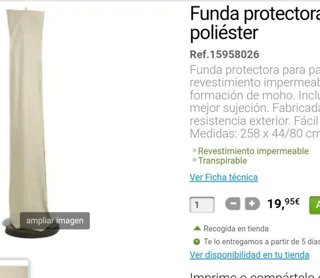 Funda protectora parasol