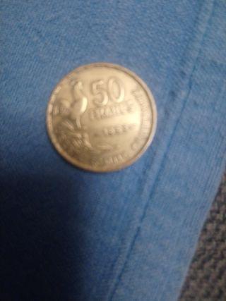 moneda antigua 50francos franceses de 1953