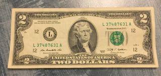 Exclusivo billete 2 USD dólares