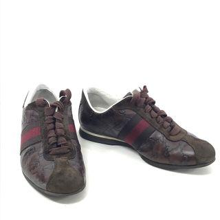 GUCCI Guccissima Zapatillas piel marrón mujer 37