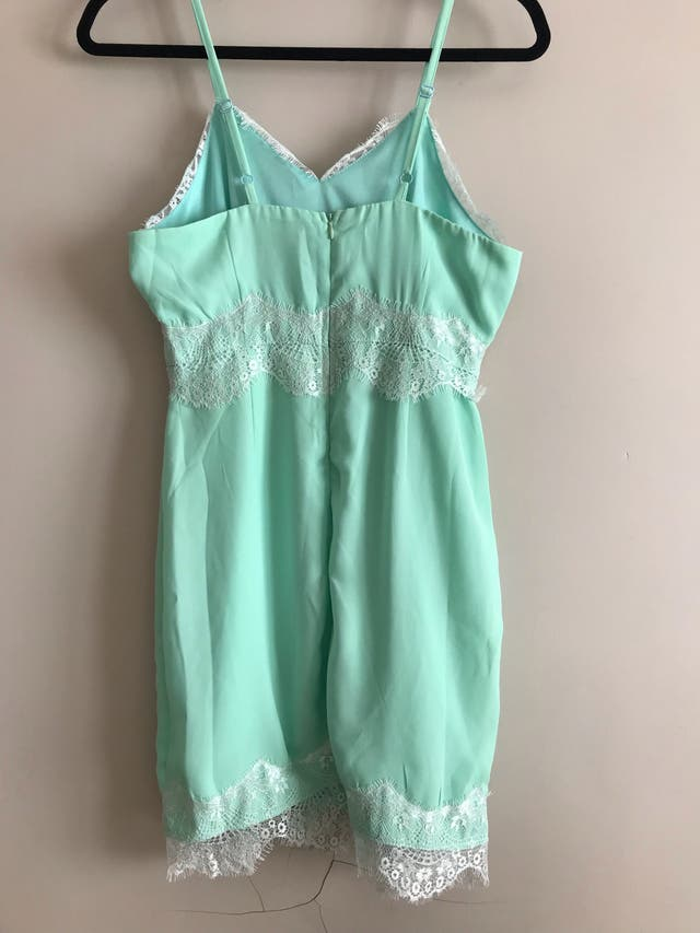 Mint and white lace mini dress