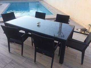 Mesa de jardin + 6 sillas rattan sintetico negro