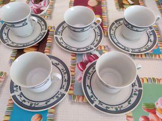 Juego de 5 tazas de café con plato