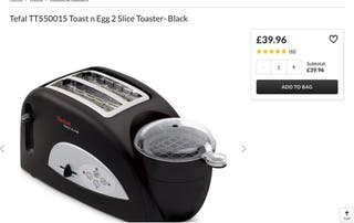 TEFAL TOAST AND EGG 2 SLICE TOASTER NEW NO BOX